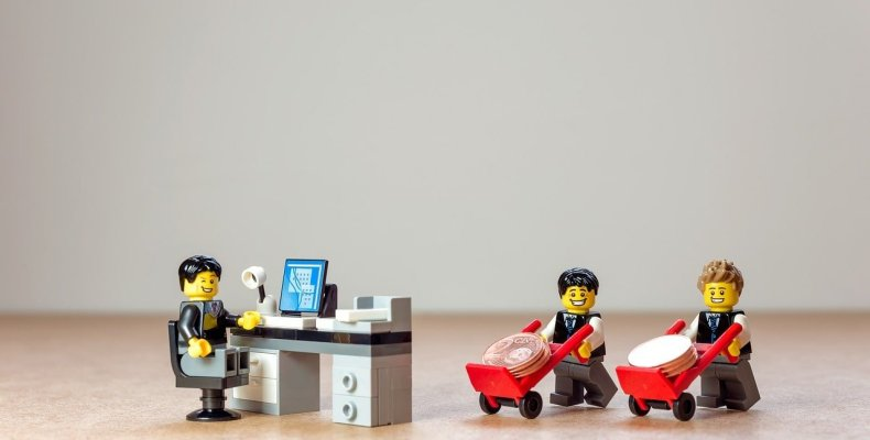 Lego Business Men with Wheelbarrows