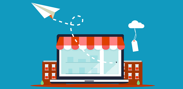 Storefront with Paper Airplane and Cloud