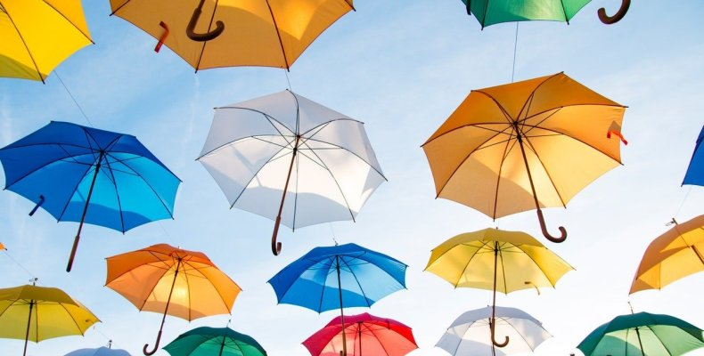 Colorful Umbrellas Floating in Air