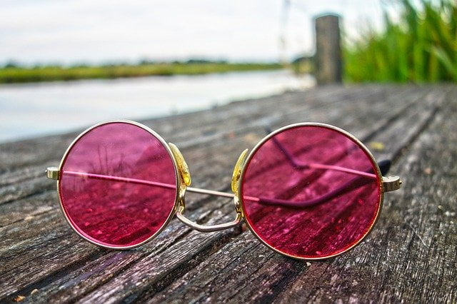 Rose Colored Glasses Round Lens on Dock