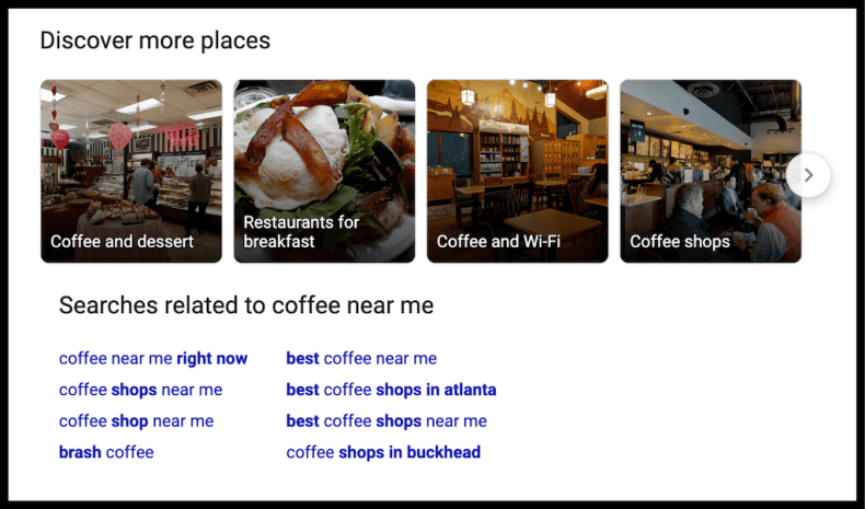 Coffee Related Places SERP