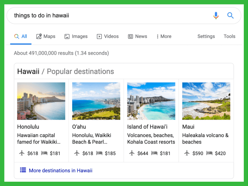 Hawaii Vertical Search SERP