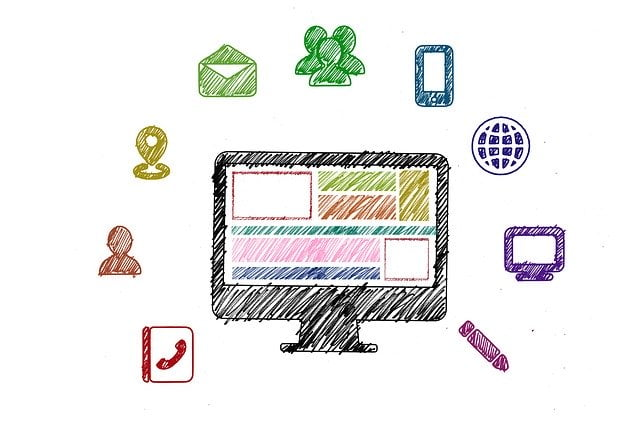 Sketch of Computer and Social Media Icons