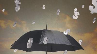 Umbrella With Dollar Signs Falling