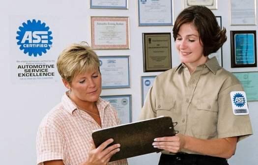 ASE Certified Mechanic Talking to Customer