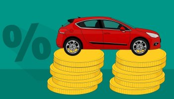 Car Sitting on Coins with Percent