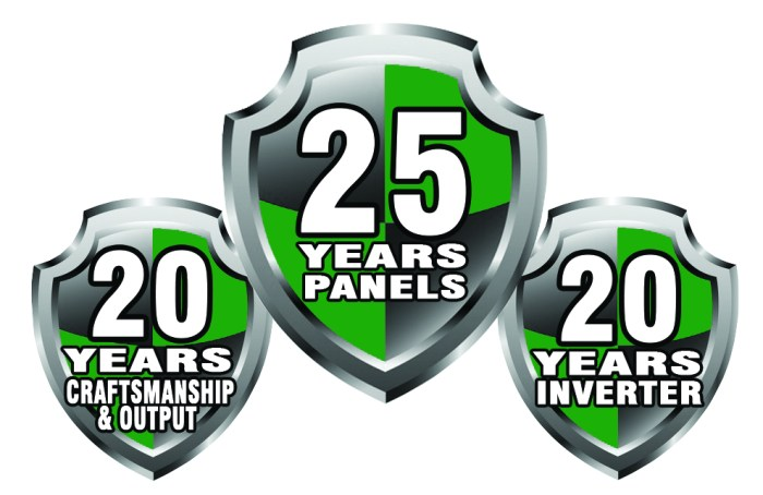 Warranty shields stating 20-25 year warranties