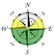 Compass showing ideal orientation for solar panels