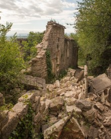 The abandoned village of Chastelas on the GR4 trail near Grospierre, Gard, France