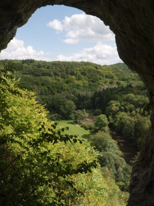A view over the Lesse river from the cave above Furdooz, Belgium