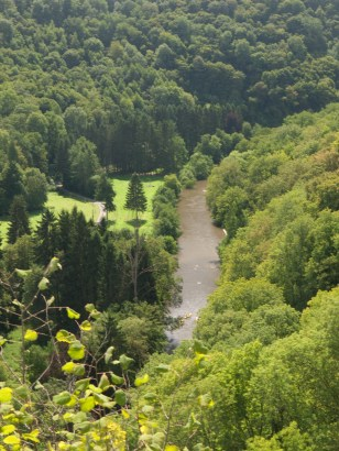 A view over the Lesse river from the Roman Fortress remains, near Furfooz, Belgium