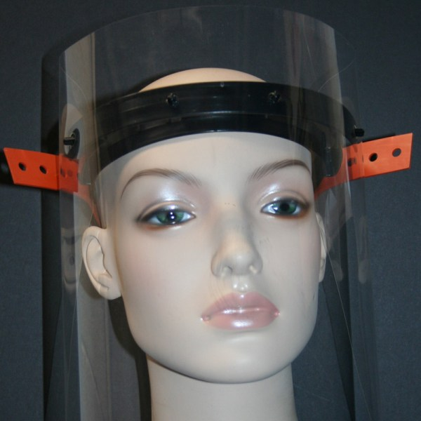 clear plastic face shield with head harness