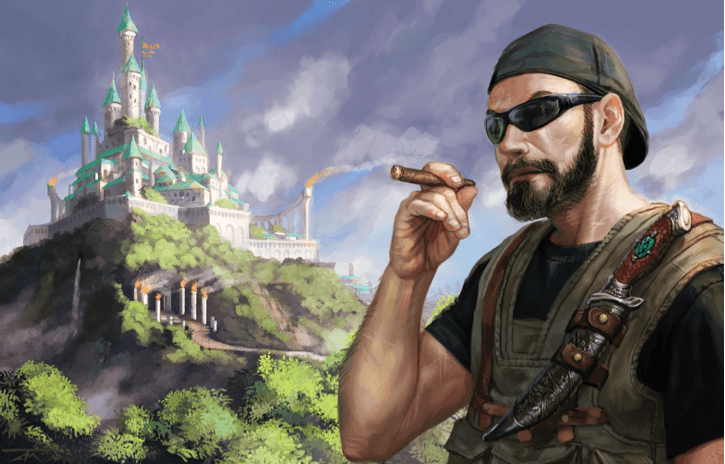 Image from Modern AGE Quickstart: A cigar-chomping, bearded mercenary stands in the foreground, with a wicked knife strapped to his flak jacket. In the distance, a magical-seeming castle looms atop a wooded hill.