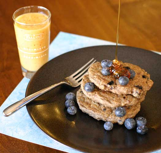 vegan oatmeal buckwheat blueberry pancakes