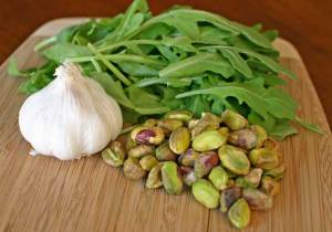 Arugula, Garlic and Pistachios for our Homemade Dairy-Free Pesto