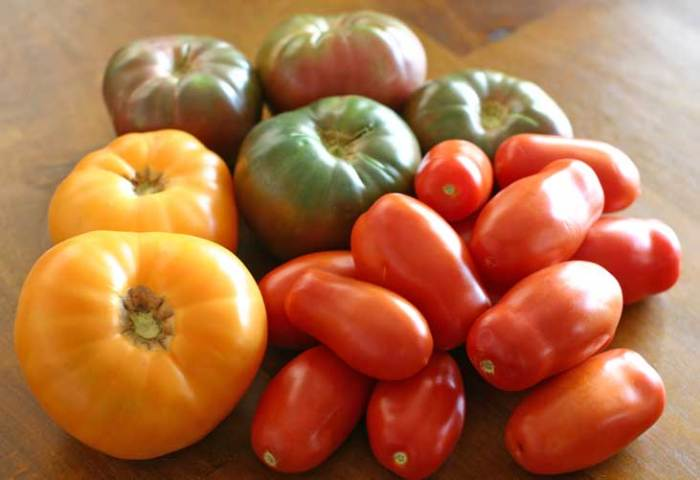 Fresh Heirloom Tomatoes for our Vegan Pasta Sauce