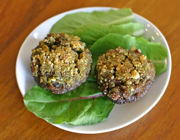 Vegan Pesto-Stuffed Mushrooms