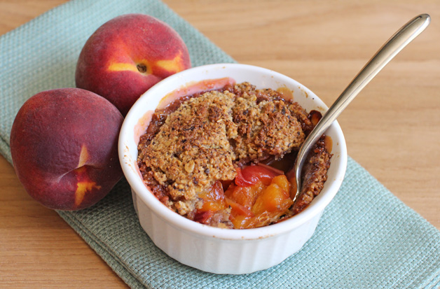 Healthy Vegan Peach Pie for One - Great for Breakfast!