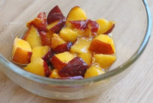 Chopped Peaches Macerating for our Vegan Pie Filling