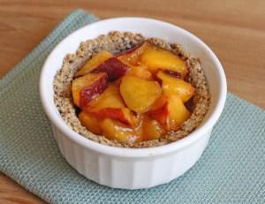 Vegan Peach Pie for One in a Ramekin