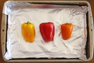 Bell Peppers Ready for Roasting