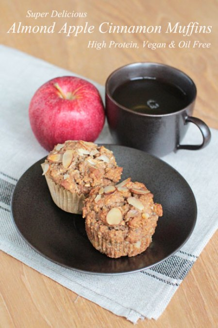 vegan apple muffins with hemp seeds