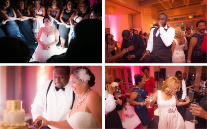 Clockwise, from bottom left: Cutting the elegant gold and ivory four-tiered wedding cake by Maxie B's; the bride's sorority sisters surround her with love {???}; Von Neuman & The Band Untitled played during the reception; guests enjoy the dance floor