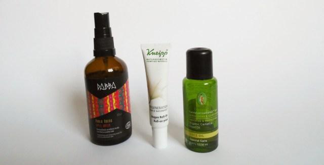 Gesichtspflegeroutine Naturkosmetik Pflege Kameliensamenöl Dabba Apfelwasser Kneipp Augen Roll On