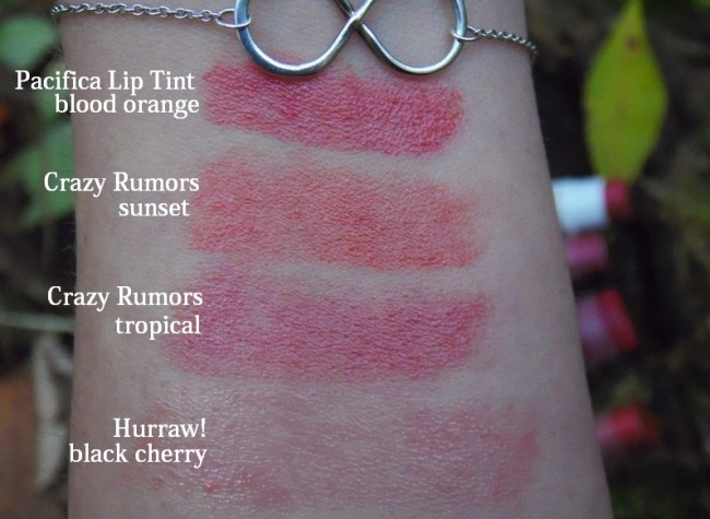 Pacifica Hurraw Crazy Rumors Tinted Lip Balm Swatches