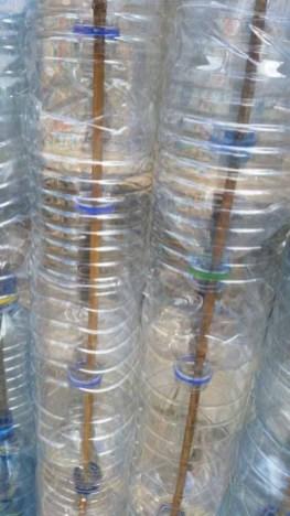 Plastic bottle greenhouse threaded bottles