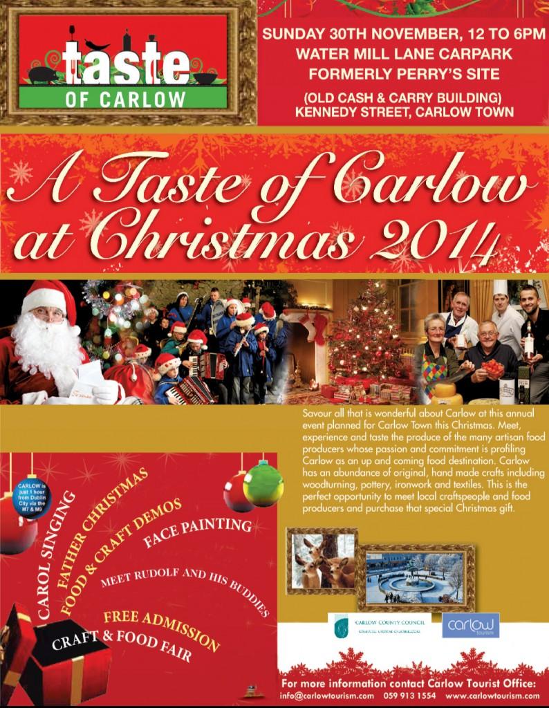 Taste of Carlow Christmas Details for 30th November 2014