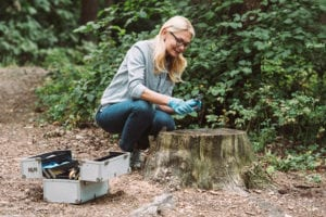 "Photograph of a scientist working in a forest, from ""The Health Benefits of Red Light Therapy: Legit or Hype?"" at Green Smoothie Girl."