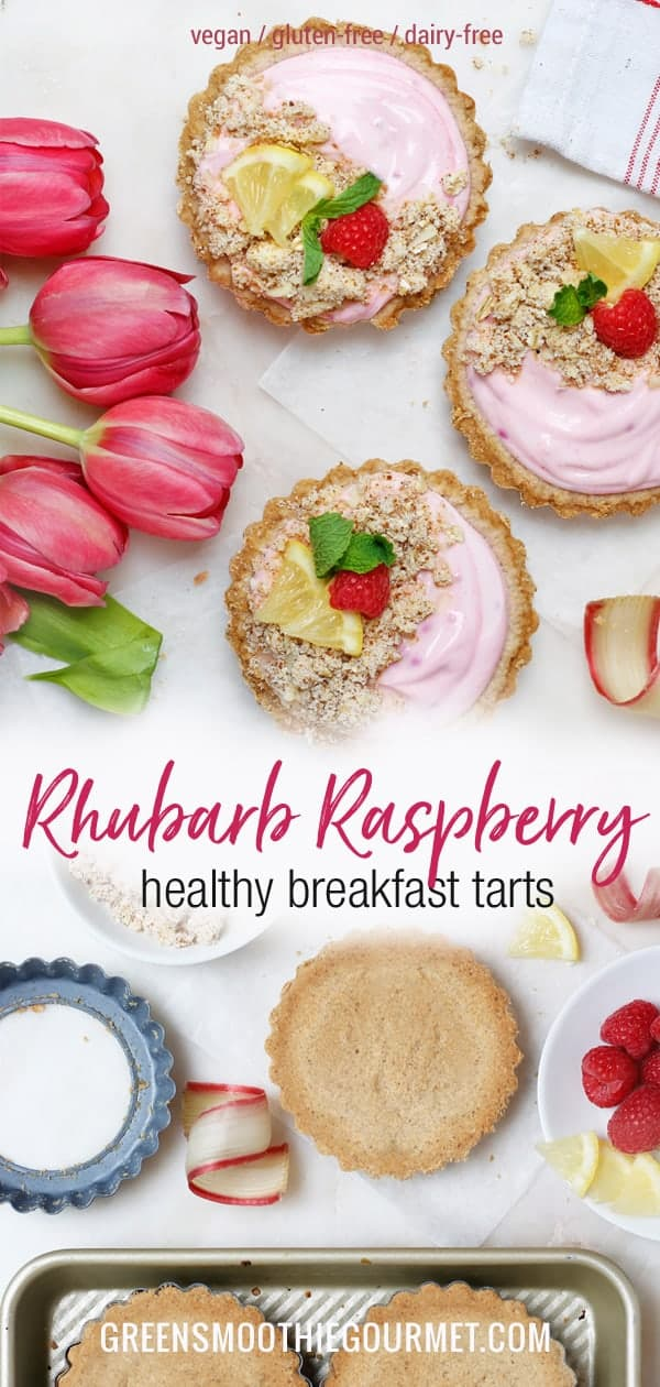 Rhubarb-Raspberry Healthy Breakfast Tarts (gluten-free, dairy-free, vegan, workout food)