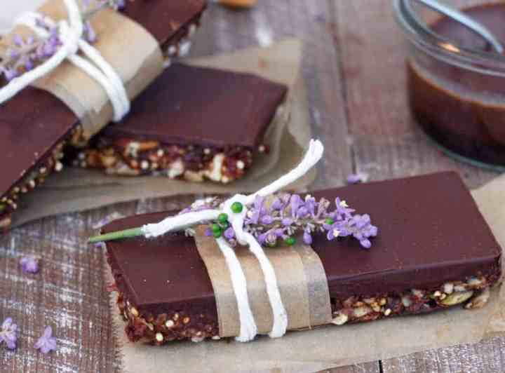 homemade protein bars on a wooden board.