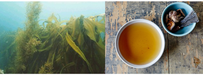 Seaweed sustainability and health benefits. The left image shows kombu (a type of kelp) growing in the ocean. The right image shows a bowl of broth next to some dried kombu and shiitake mushrooms.