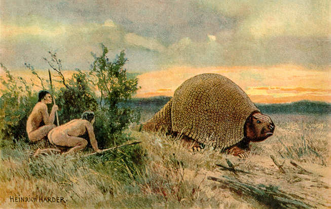Is the Paleo Diet heathy? A 20th century painting of two hunter-gatherers hunting a glyptodon in the Paleolithic era.