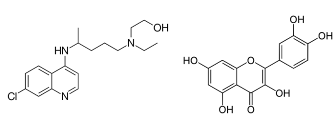 Chemical structures of the drug hydroxychloroquine and the natural product quercetin