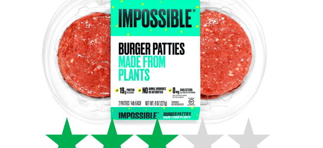 A pack of Impossible Burgers - version 2.0 from Impossible Foods - is shown with an ethical score underneath of 3/5 Green Stars, representing social and environmental impact.