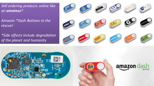 Ethical Review of Amazon. A selection of Amazon Dash buttons are shown, each one dedicated to a particular brand (Tide, Glad, Bounty, etc.). Underneath this is an image of the Amazon Dash Button circuit board, showing the electronics that are required to make it function. How ethical is Amazon?