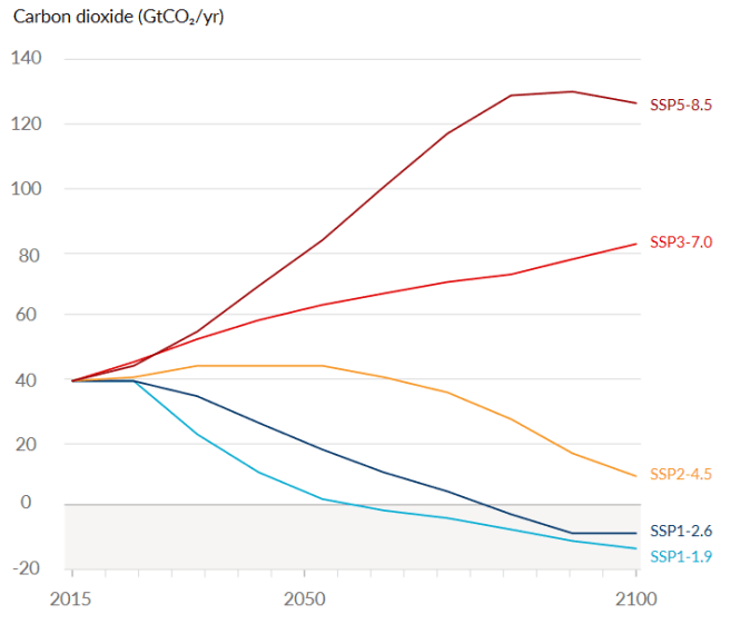 IPCC AR6 Report summary. A graph shows possible scenarios of CO2 emissions from about 2015 to 2100. The graph and SSP1-1.9, SSP2-4.5 and SSP5-8.5 are described in the main text.