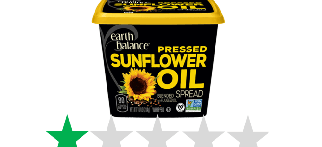 Earth Balance Pressed Sunflower Oil Spread - Green Stars rating for social and environmental impact. The image shows a tub of Earth Balance spread with a graphic below it showing an ethical score of 1/5 Green Stars.