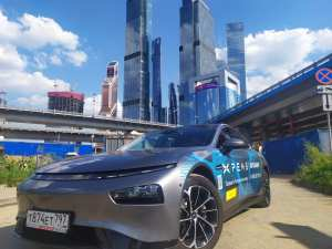 Российская презентация электрического автомобиля из Китая Xpeng P7 на деловом бизнес завтраке у Андрея Ковалёва, лидера Общероссийского движения предпринимателей
