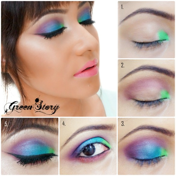 Colorful Eye Makeup tutorial with blue, green and purple shadow and winged eye liner