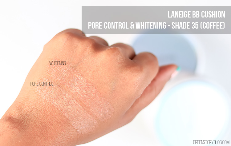 Laneige BB Cushion Pore Control annd Whitening Shade 35 Swatch
