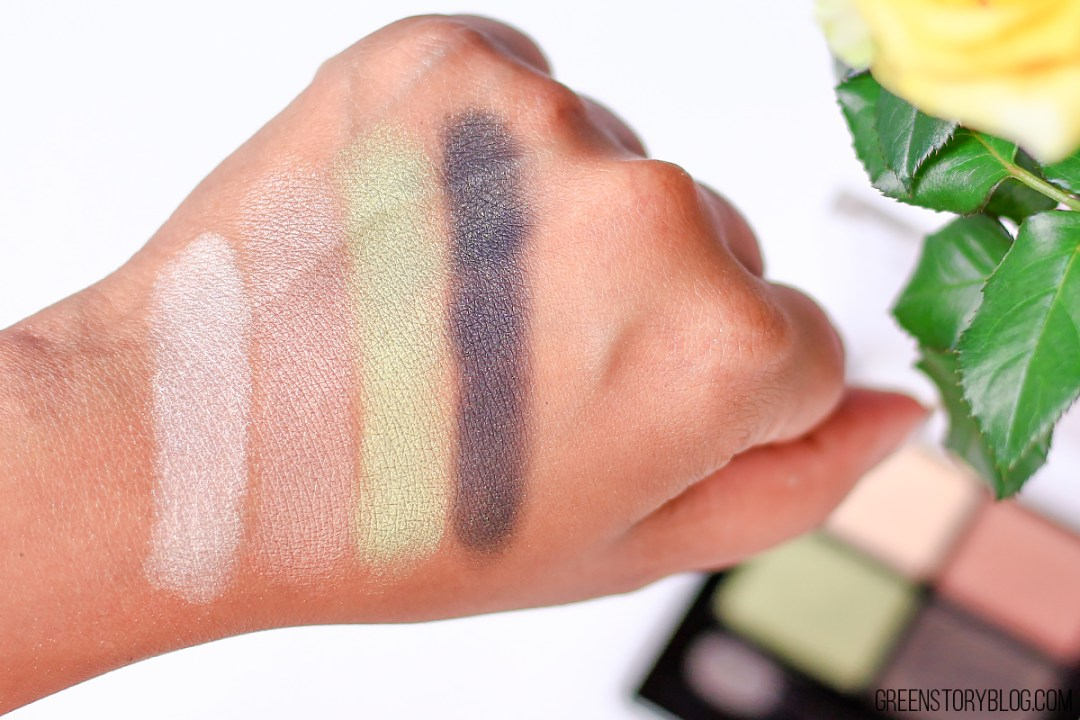 Palladio Eyeshadow Quad Swatch - Green To Go