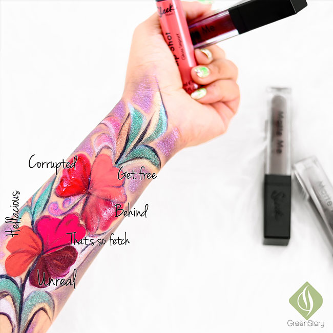 Sleek Makeup Matte Me Liquid Lipstick & Lip Shot Glosses - Review and Swatch