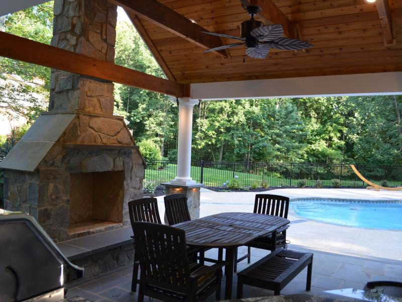Pool House Outdoor Kitchen  Fireplace  Greensward LLC