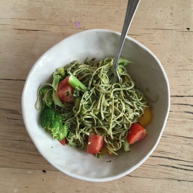 glutenfree pasta and pesto