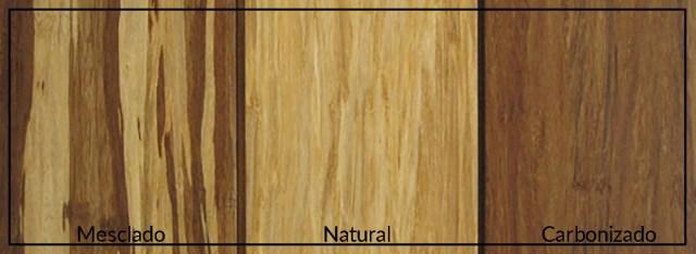 Diferentes colorações dos pisos de bambu. (Fonte: Rug Knot).