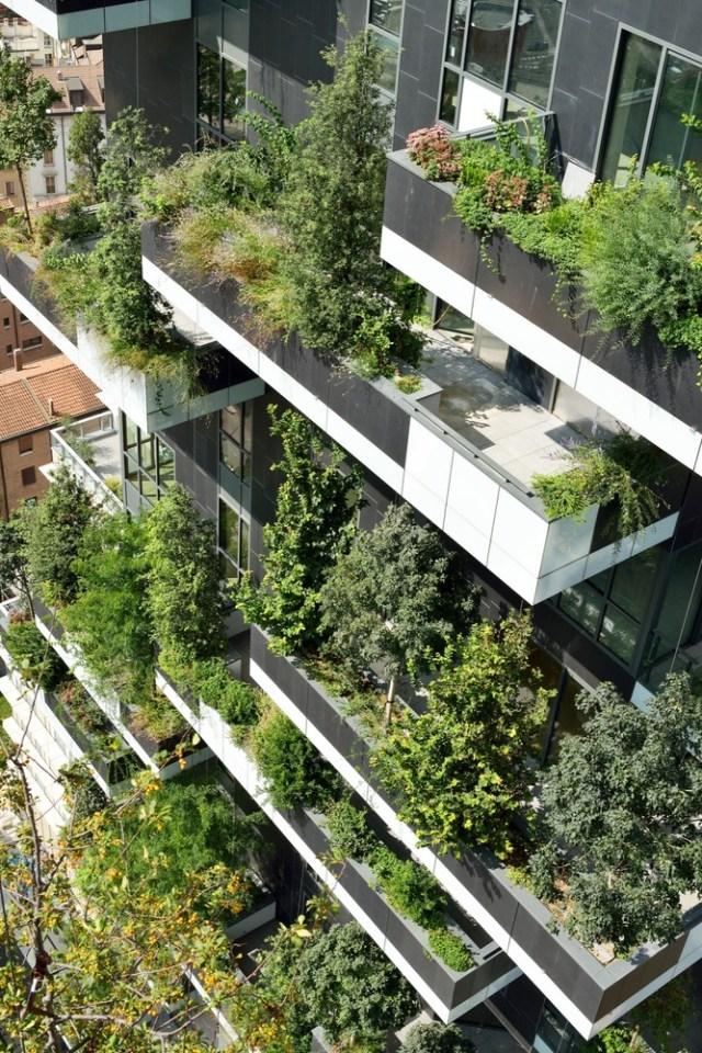 Varandas ajardinadas com diferentes portes de plantas. (Fonte: Archdaily).
